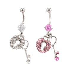 Key and Locket Navel Belly Button Ring
