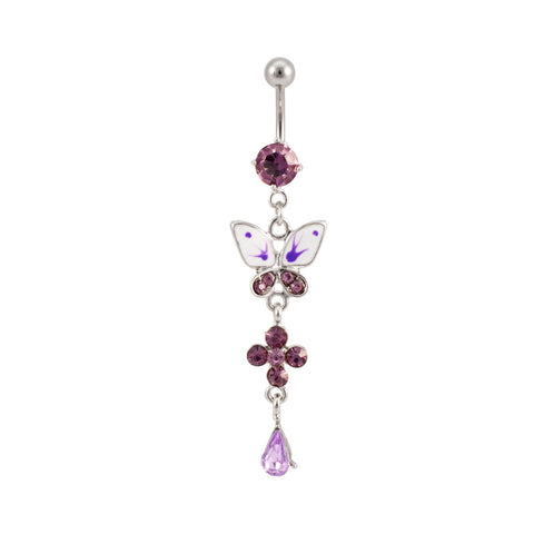 Purple Butterfly Belly NAVEL Ring