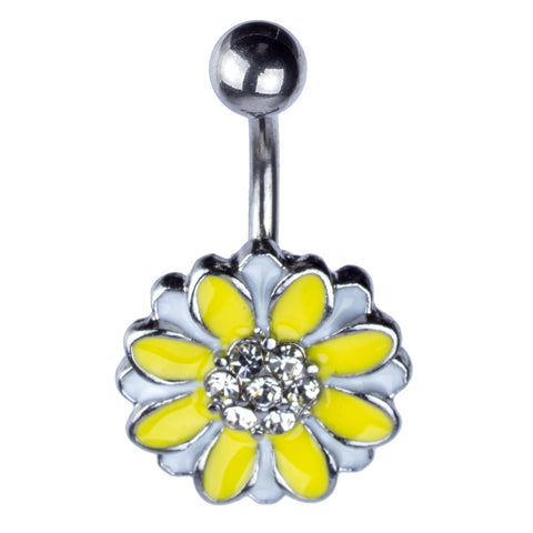 Single | Generic | Navel Ring -White & Yellow Flower with Clear Gems | Antique Silver | N/A