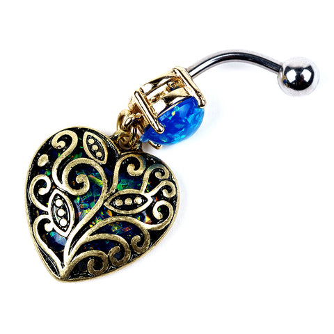 Heart Dangle Navel Barbell 14g | Gold Plating | Synthetic Blue Opal