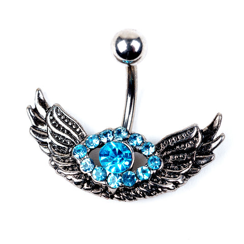 14 Gauge Curved Barbell Navel Body Jewelry with Synthetic Aqua Gemstones and Wings