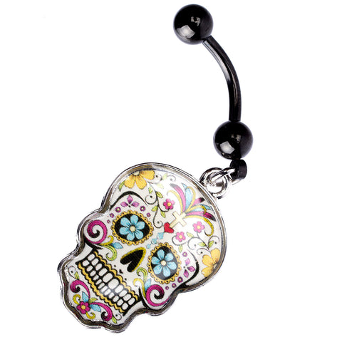 14 Gauge Black PVD Coated Stainless Steel Curved Barbell for Navels with Dangling Sugar Skull