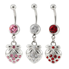 14G Stainless Steel Dangling Strawberry Jeweled Charm Navel Ring