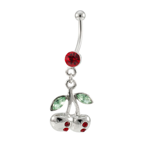Dangling Silver Cherries Red Jeweled Navel Ring