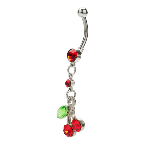 14G Red & Green Cherry Dangle Dual Jewel Navel Curved Barbell
