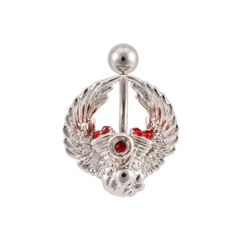Winged V-Twin Engine Gem Belly Ring