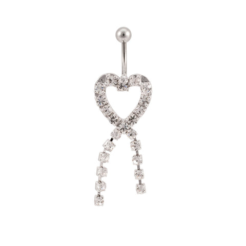 Heart Knot All Gem Navel Ring