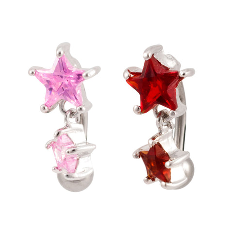 Reverse Two Star  Dangle Belly Ring