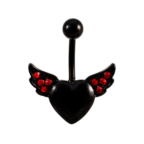 Jeweled Black Titanium Heart with Wings Belly Ring