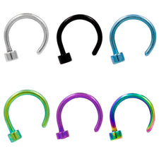 Anodized 16g Stainless Steel Open Design Circular Nose Ring