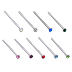 18g Nose Pin - Pressure Fit Gem - Stainless Steel