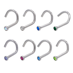 18g Nose Screw - Pressure Fit Gem - Stainless Steel