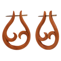 #2 Organic Sono Wood Open Leaf Design Earrings | PAIR