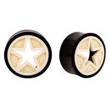 Intricate Carved Bone & Horn Star Organic Saddle Plugs