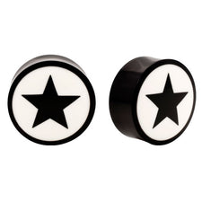 Horn Saddle Design Plugs with Bone Inlay Star
