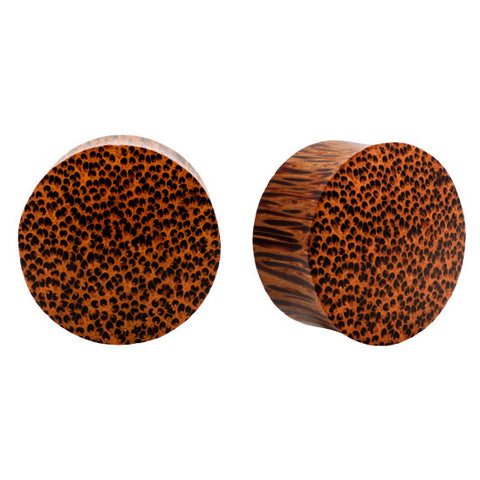 Solid Palm Wood Organic Double Flared PLugs