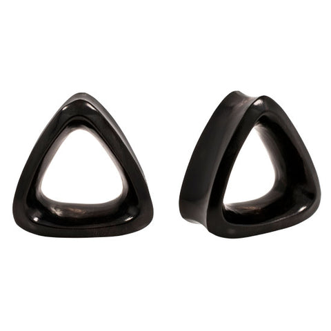 Pair Double Flared Triangle Tunnels Organic Buffalo Horn