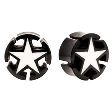 3-D Inlaid Star Horn & Bone Organic Tunnel Plugs