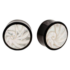 Nautilus Mother of Pearl Inlay Spiral Organic Horn Saddle Plugs