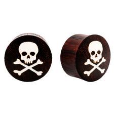 Skull & Crossbones Sono Wood and Bone Double Flared Ear Plugs