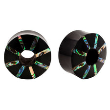 Abalone & Horn Pinwheel Double Flared Organic Saddle Plugs