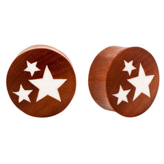 Blonde Saba Wood & Bone Star Double Flared Organic Plugs