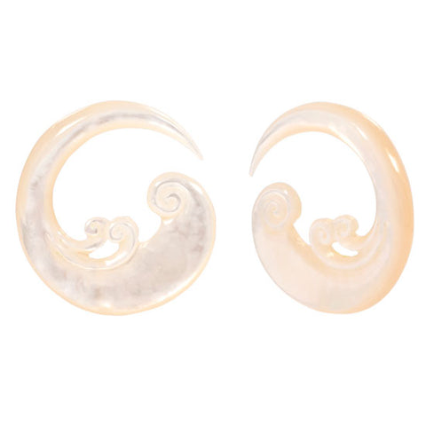 Double Sided Mother of Pearl Waves Organic Ear Spiral Taper