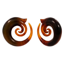 Whimsical Golden Blond Buffalo Horn Organic Ear Spiral Taper