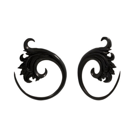 Double Sided Black Horn Waves Organic Ear Spiral Taper