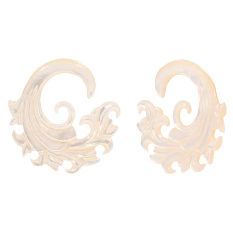 PAIR | Intricate Mother of Pearl Organic Ear Spiral Taper