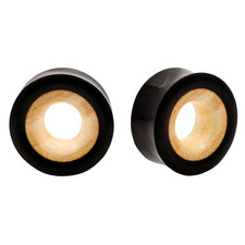 PAIR | Crocodile Wood & Horn Double Flared Organic Saddle Plugs
