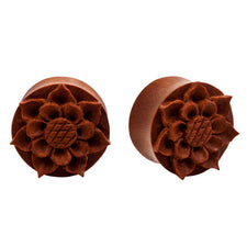 PAIR | Organic Sawo Wood Carved Flower Double Flared Plugs