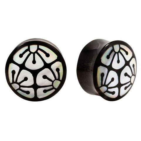 PAIR | Organic Horn & Mother of Pearl Flower Inlay Double Flared Plugs