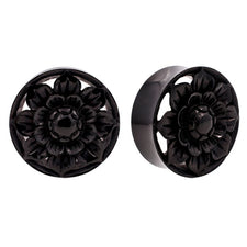 PAIR | Organic Carved Horn Lotus Flower Double Flared Plugs