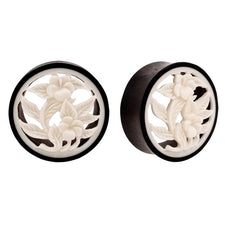 PAIR |  Organic Carved Horn & Bone Flower Hollow Double Flared Plugs