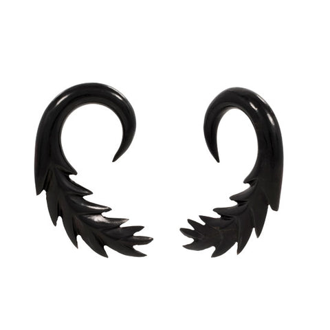 PAIR | Organic Carved Black Horn Black Wing Hangers