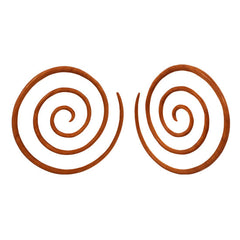 PAIR | Organic Dark Sawo Wood Tribal Hanging Ear Spiral