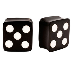 PAIR | Organic Areng Wood & Bone Dice Plugs