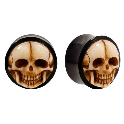 PAIR | Organic Horn Saddle Plugs with Antique Bone Skull Inlay