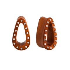PAIR | Organic Double Flared Studded Tear Drop Sawo Wood Plugs
