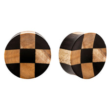 PAIR | Double Flared Areng & Crocodile Wood Checkerboard Design Plugs