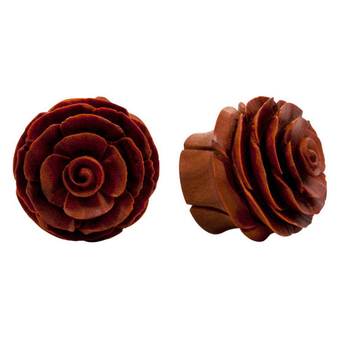 PAIR | Organic Carved Double Flared Sawo Wood Flower Plugs