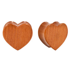 PAIR | Double Flared Carved Sawo Wood Heart Plugs