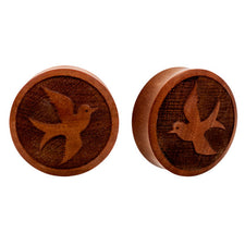 PAIR | Sparrow Carved Sawo Wood Double Flared Earlet Tunnels