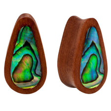PAIR | Abalone Inlay & Sawo Wood Double Flared Unique Oblong Plugs