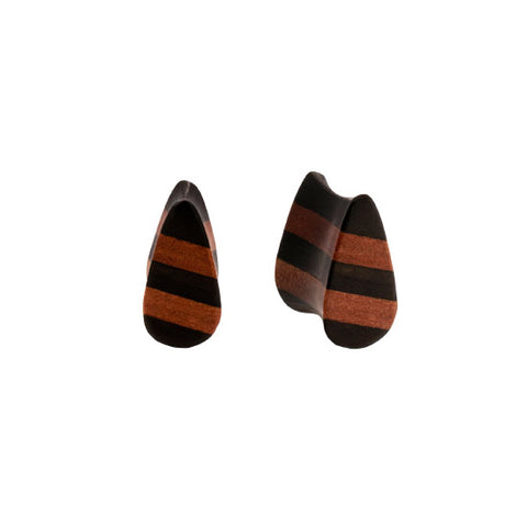 PAIR | Areng & Sawo Wood Striped Double Flared Teardrop Plugs