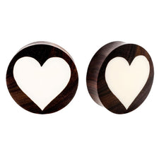 PAIR | Sono Wood & Bone Double Flared Heart Inlay Ear Plugs