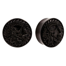 PAIR | Dragon Carved Areng Wood Double Flared Organic Plugs