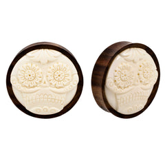 PAIR | Skull Wood & Horn Double Flared Organic Saddle Plugs
