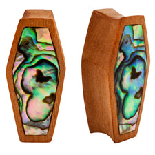 PAIR | Abalone Inlay & Sawo Wood Double Flared Unique Coffin Plugs